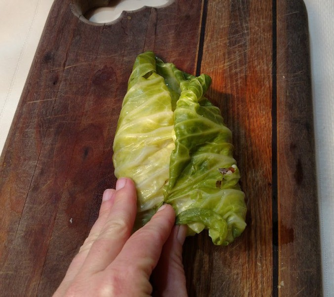 Stuffed Cabbage Rolls rolling instructions