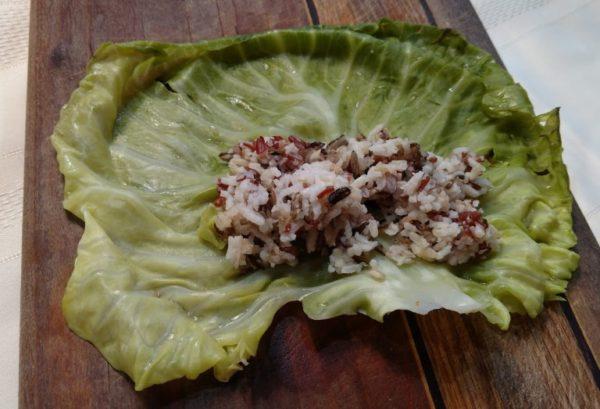 step 1 Stuffed Cabbage Rolls rice in leaf