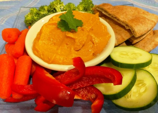 oil free hummus recipe. roasted red pepper hummus.