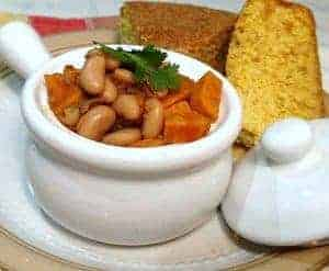 White Chili Beans with cornbread