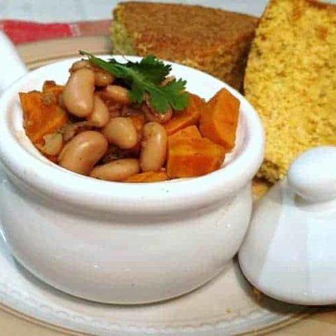 White Chili Beans with cornbread