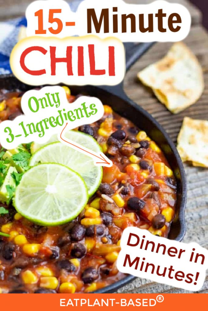 meatless chili photo collage for pinterest