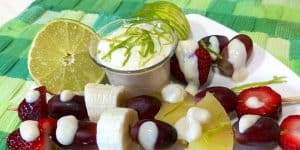 Fruit skewer with lime sauce