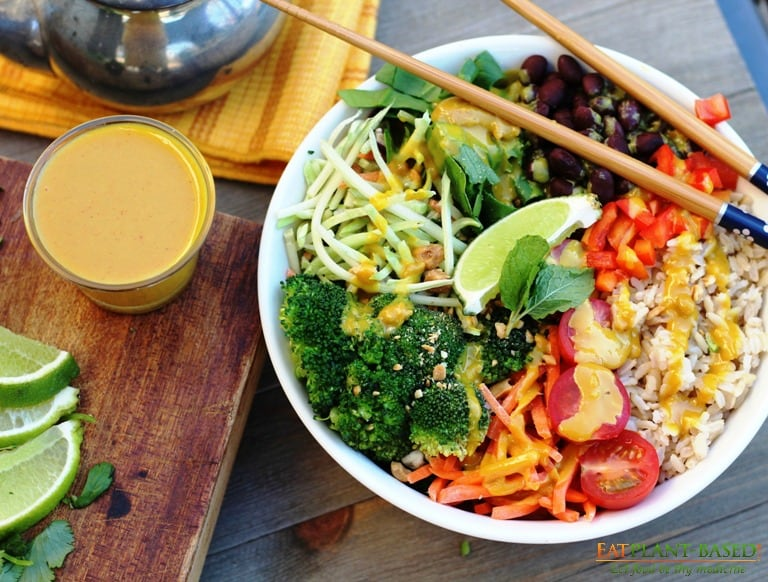 vegan rice bowl with dressing