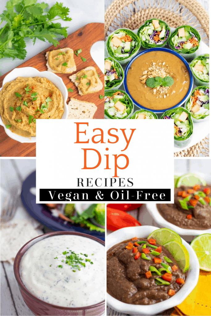 vegan dip recipes photo collage for pinterest