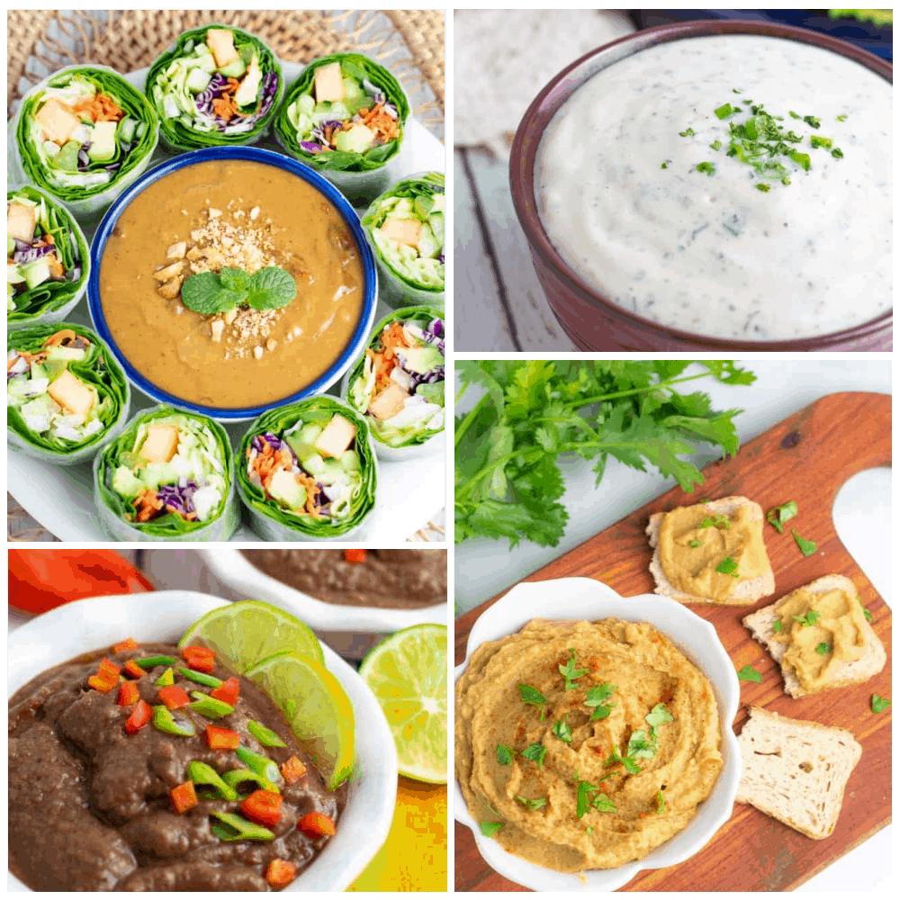 vegan dip recipes photo collage for feature image