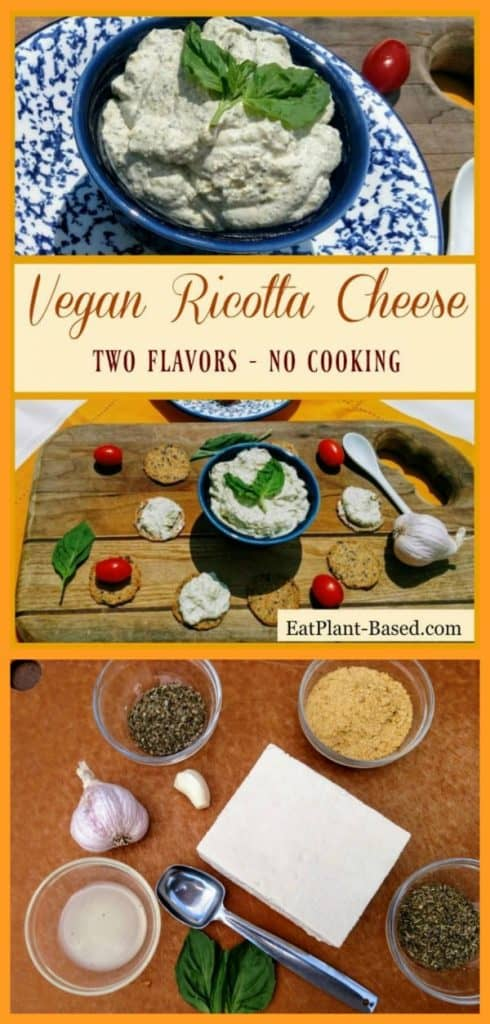 vegan ricotta cheese collage