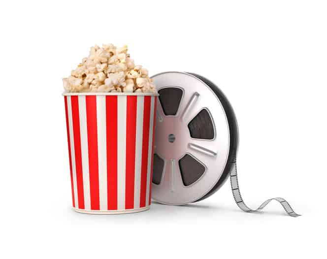 The film reel and popcorn.