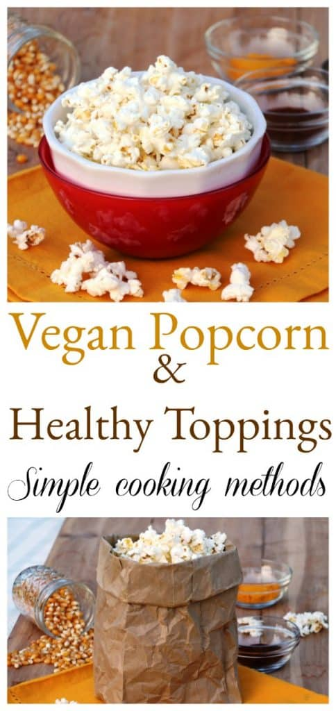 Vegan Popcorn and healthy toppings collage