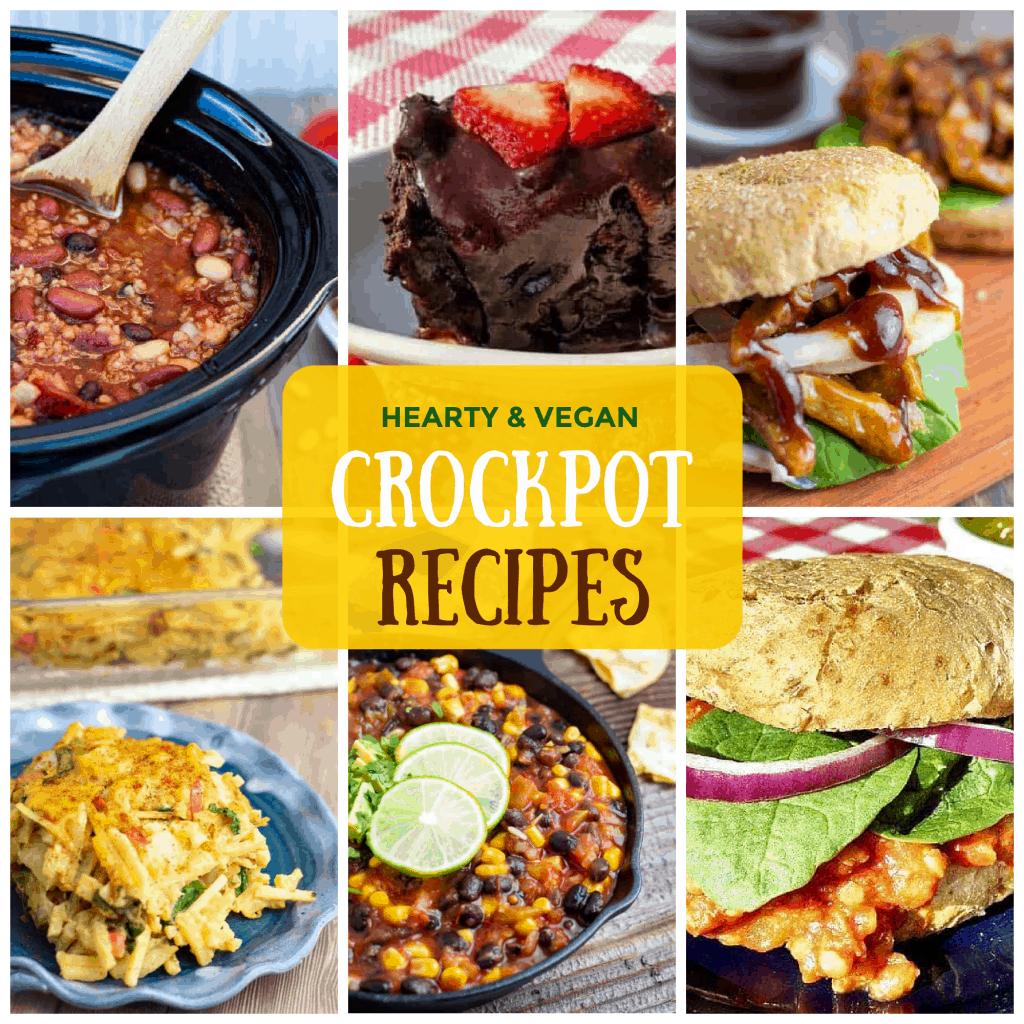 Collage of vegan crockpot recipes