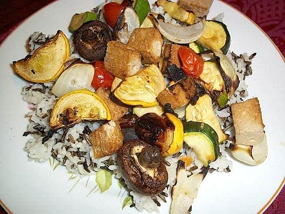 grilled squash, zucchini, and mushrooms served over rice.