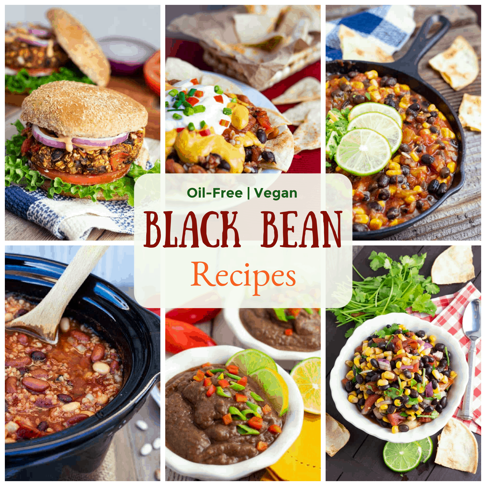 vegan black bean recipe photo collage