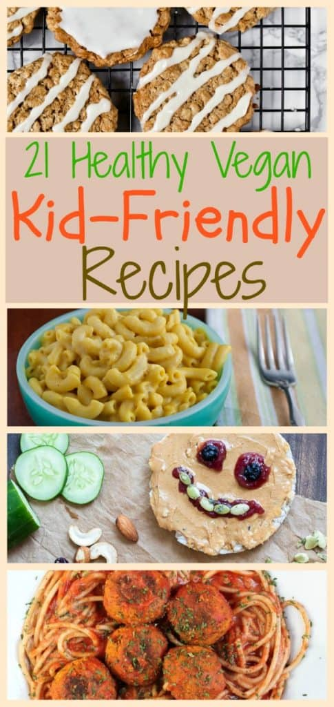healthy kid friently vegan recipes photo collage for pinterest