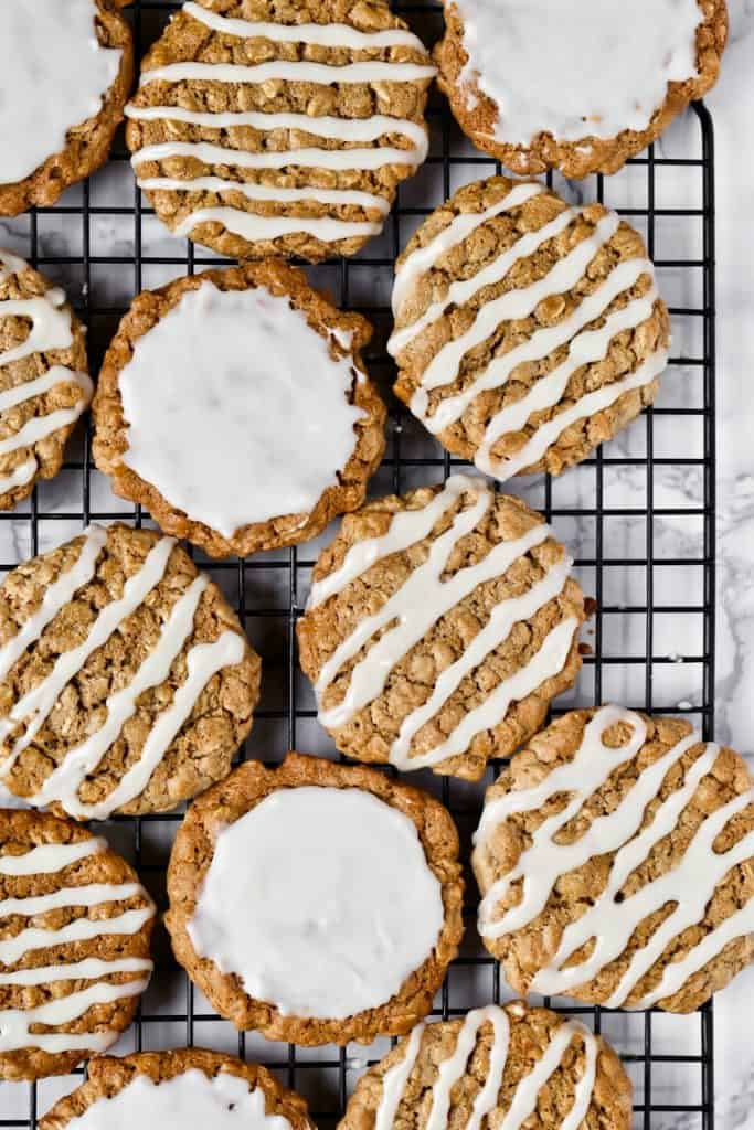 Old Fashioned Iced Oatmeal Cookie on cooling rack