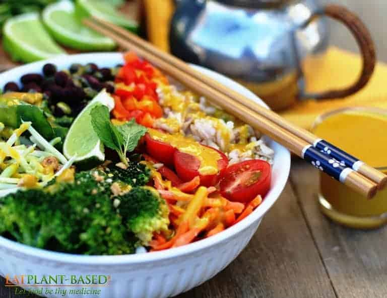 veggie bowl with tahini sauce
