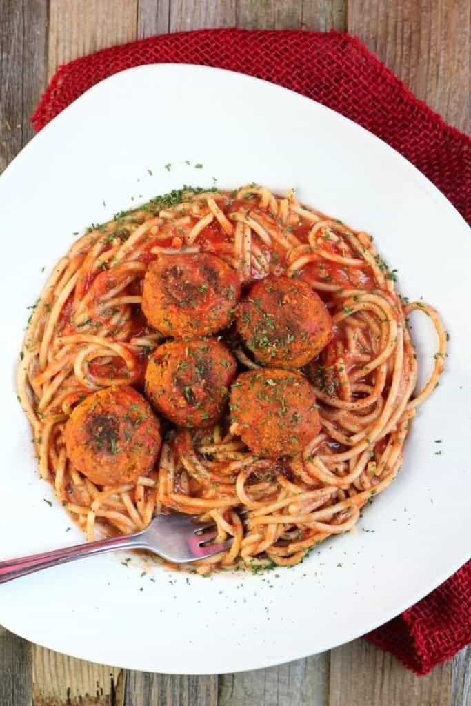 Easy Vegan Spaghetti & Meatballs for vegan kid friendly meals