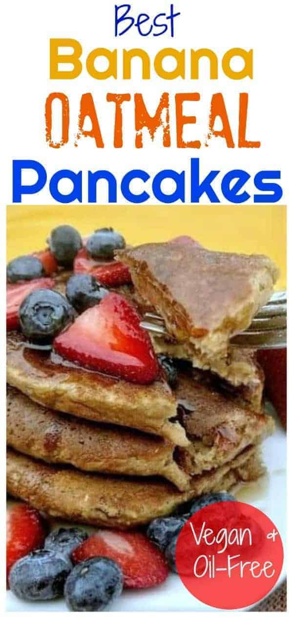 Banana Oatmeal Pancakes pinterest photo with caption