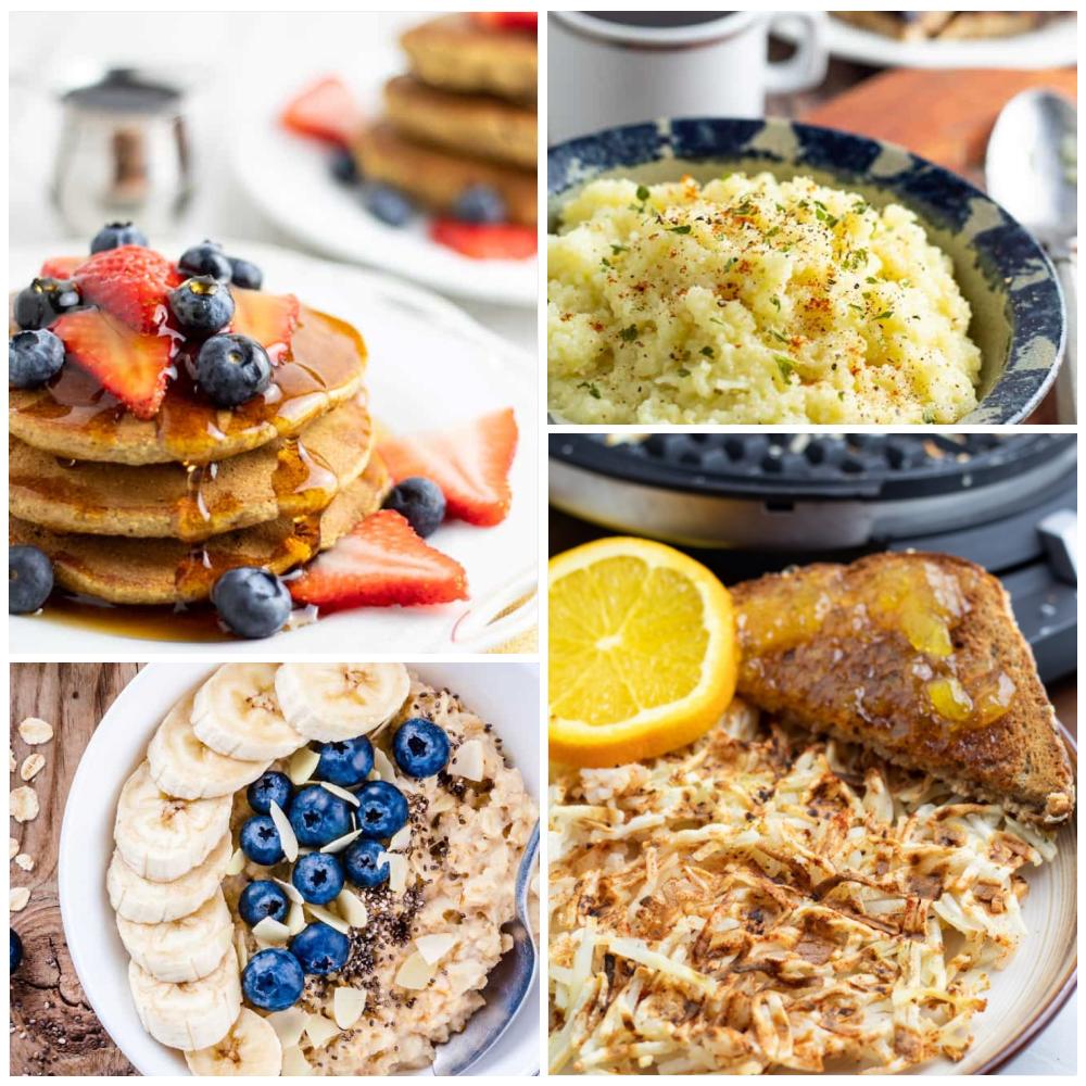 collage of vegan breakfasts