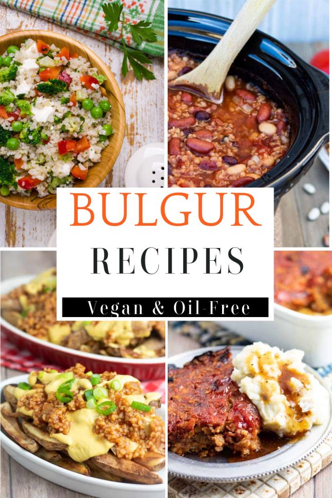 photo collage of bulgur recipes for pinterest