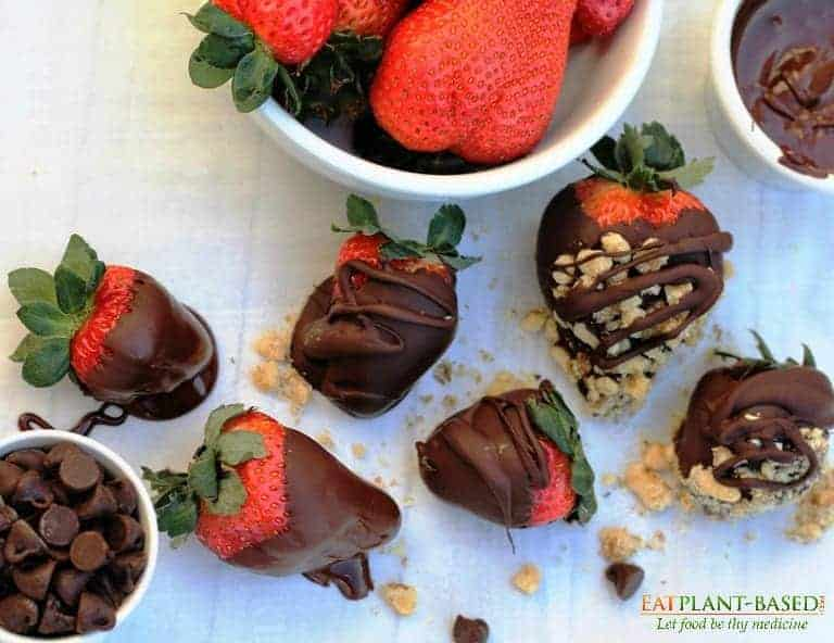 Chocolate Covered Strawberries on white table