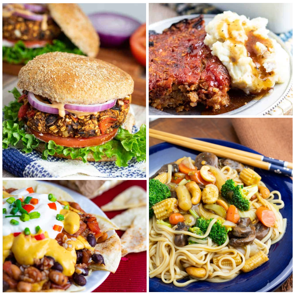 plant based dinner photo collage