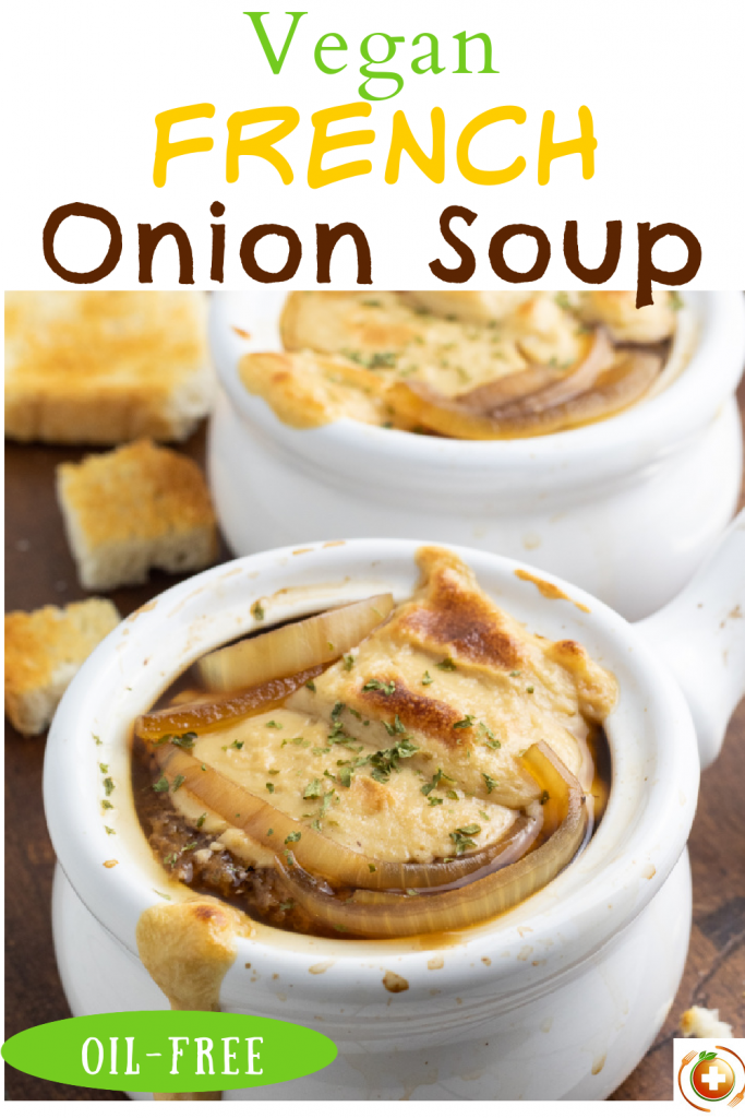 vegan french onion soup photo collage for pinterest