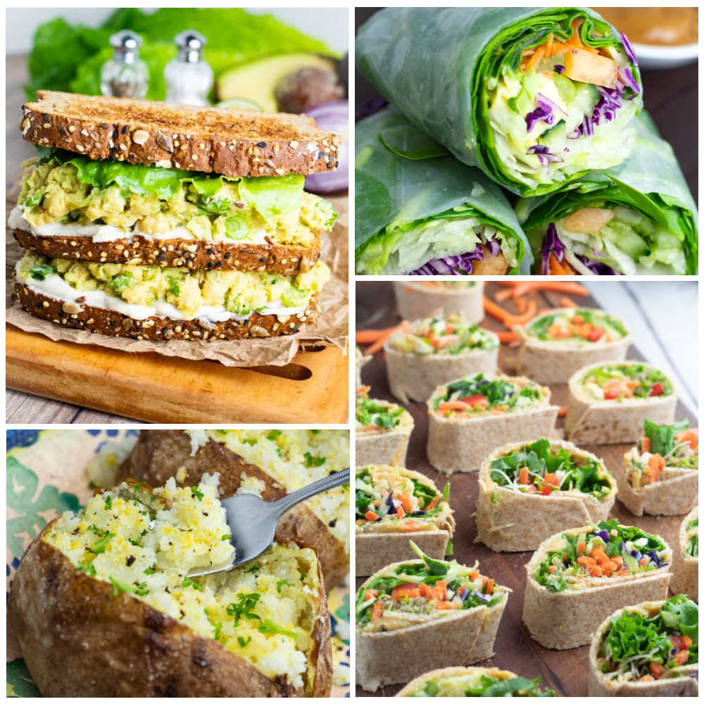 plant based lunch photo collage