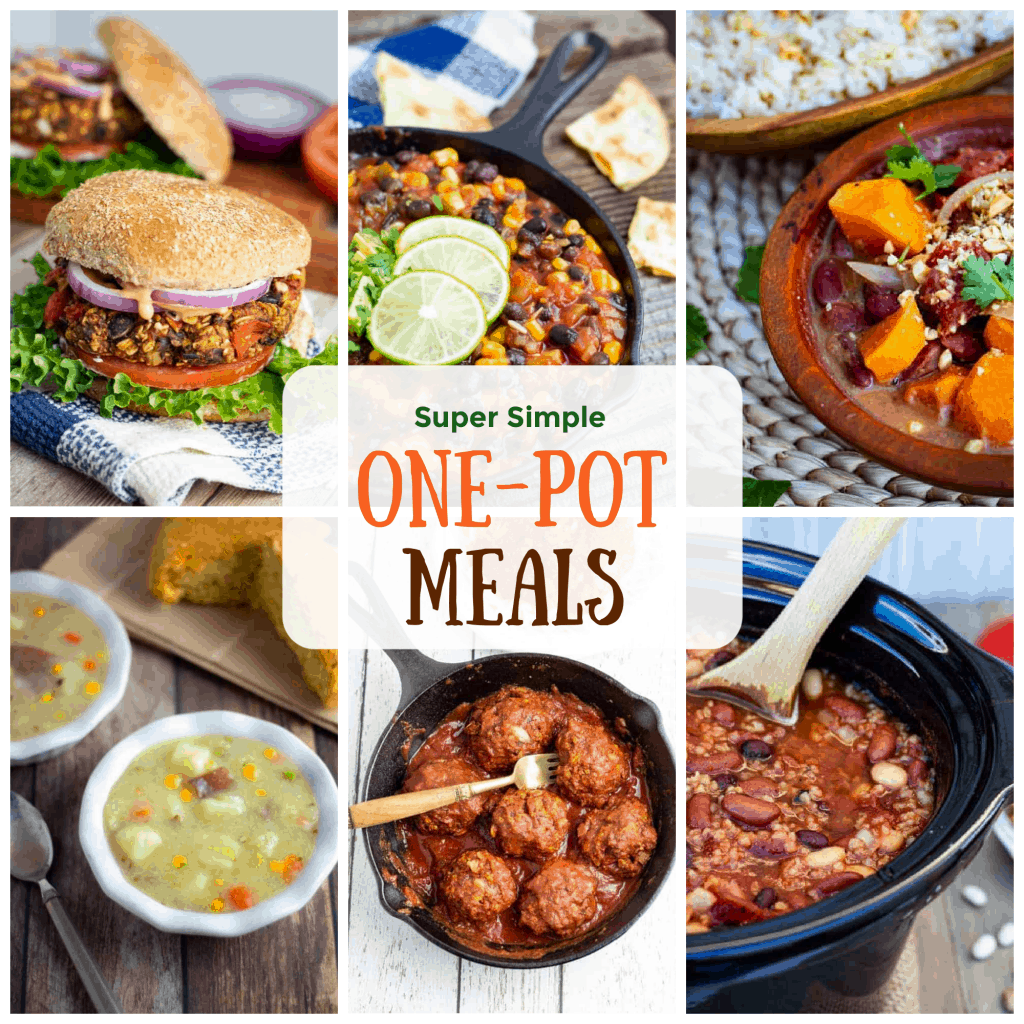 vegan one pot meal photo collage