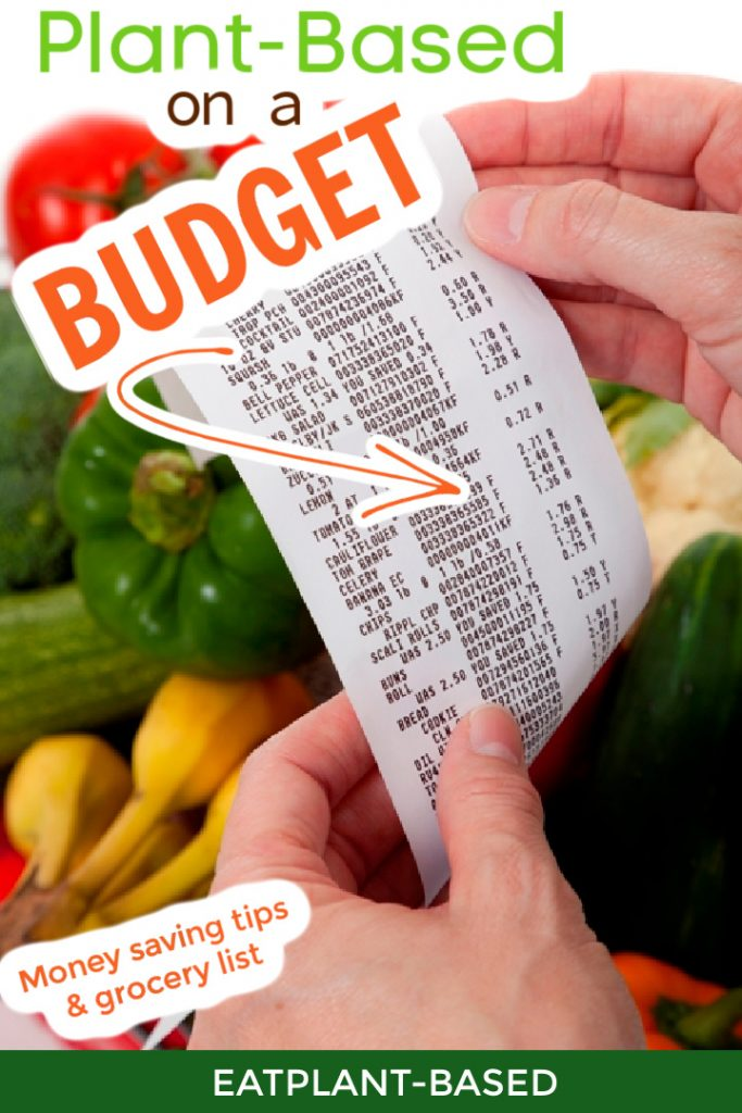 photo collage for pinterest of grocery list and budget
