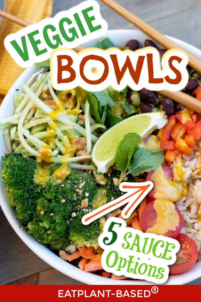 veggie bowl photo collage for pinterest