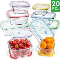 Jalousie 20 Pieces Borosilicate Glass Food Storage Meal Saver Containers with vented Locking Lids - BPA Free Airtight Oven Freezer Dishwasher and Microwave Safe Airtight Reusable Food Container Set