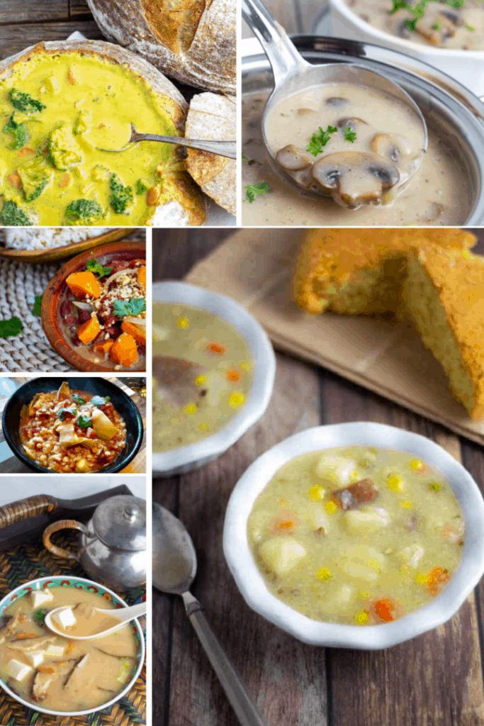photo collage of vegan soups