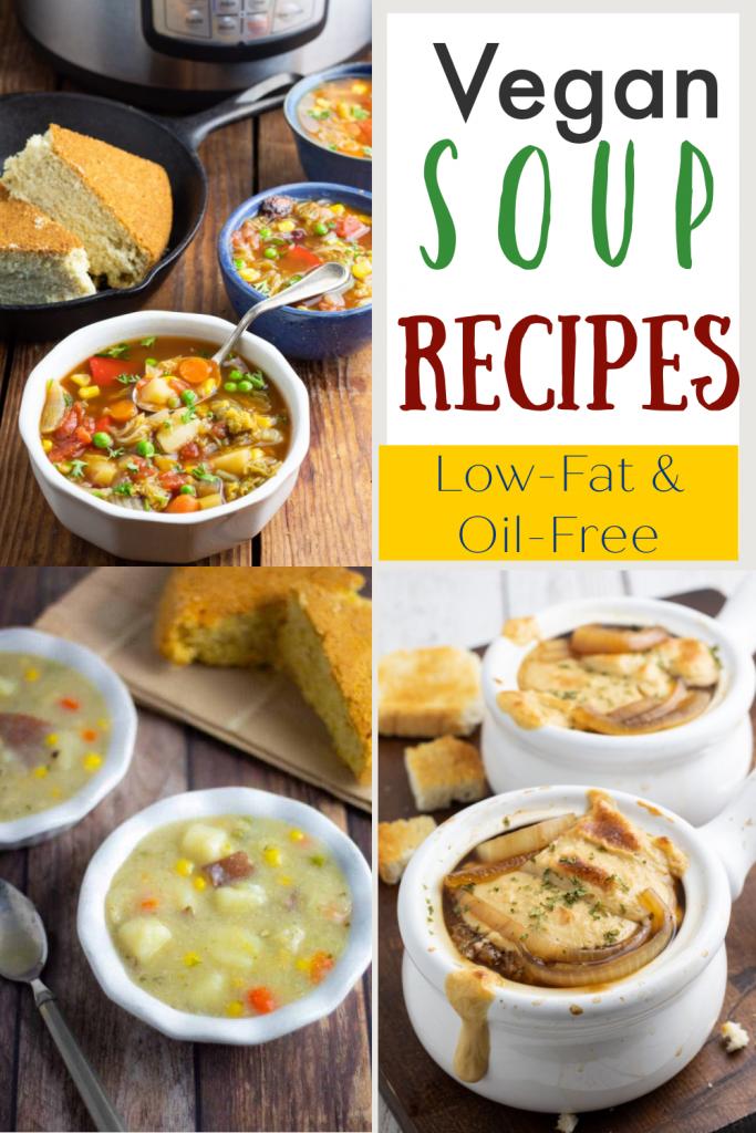 vegan soup recipe photo collage