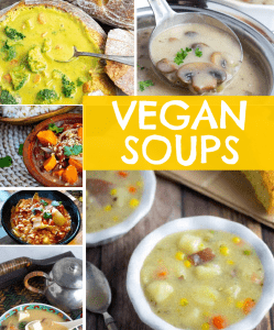 photo collage of vegan soups with title
