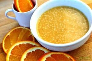 miso ginger dressing with orange slices