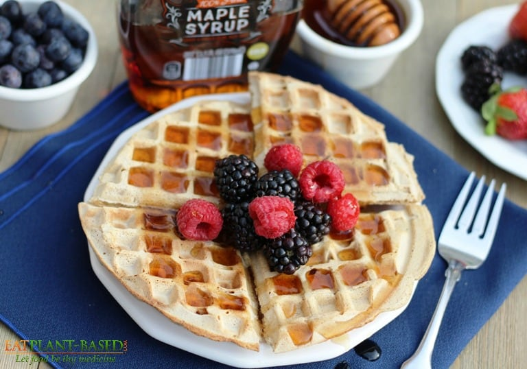 vegan waffles topped with berries