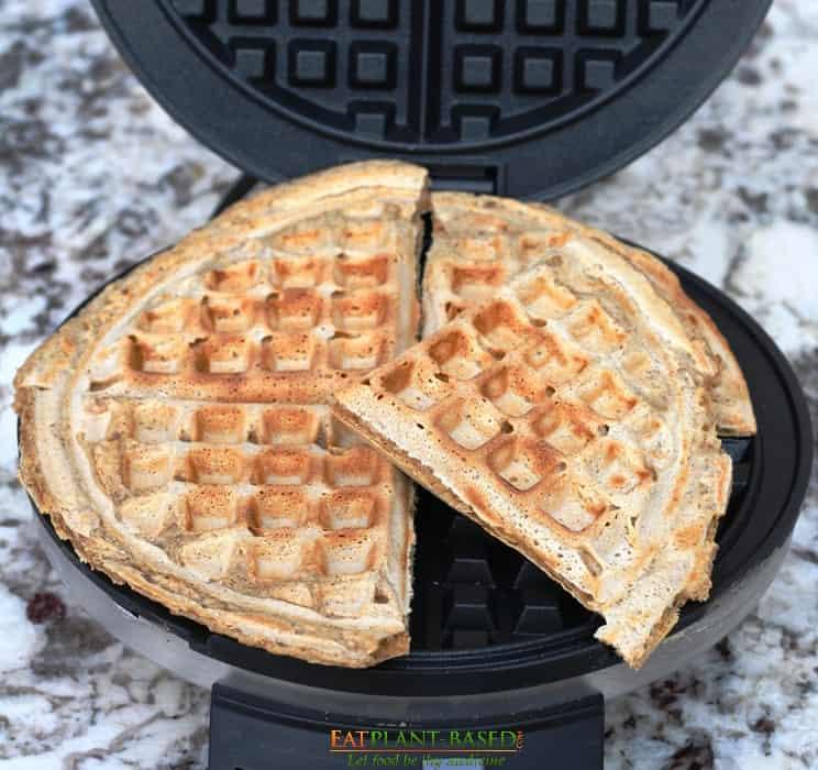 eggless waffles in waffle iron