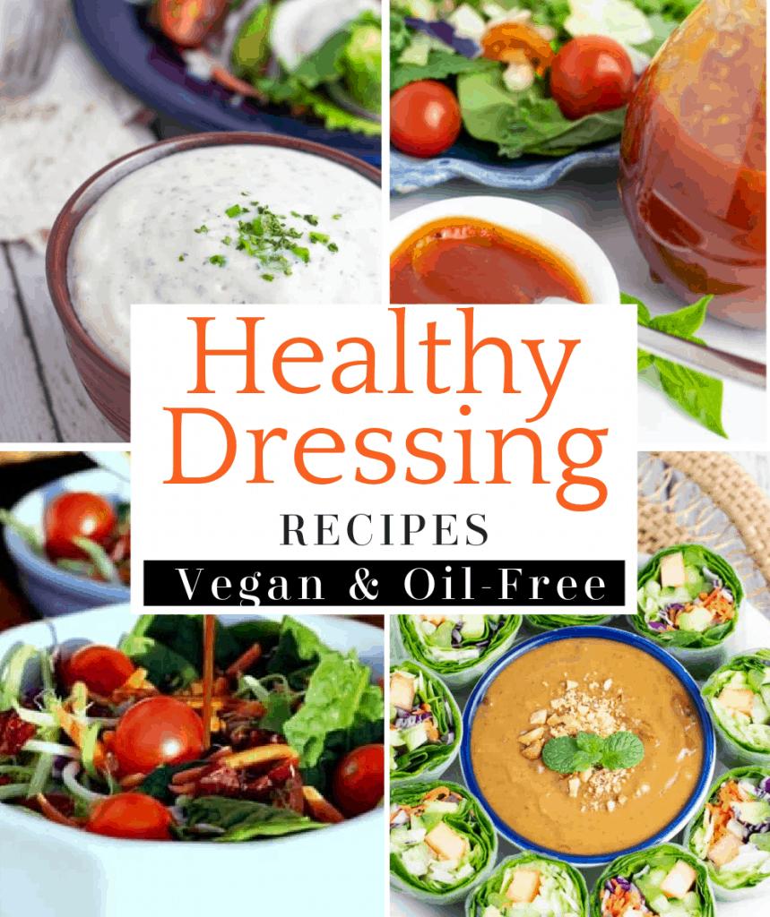 vegan salad dressings photo collage