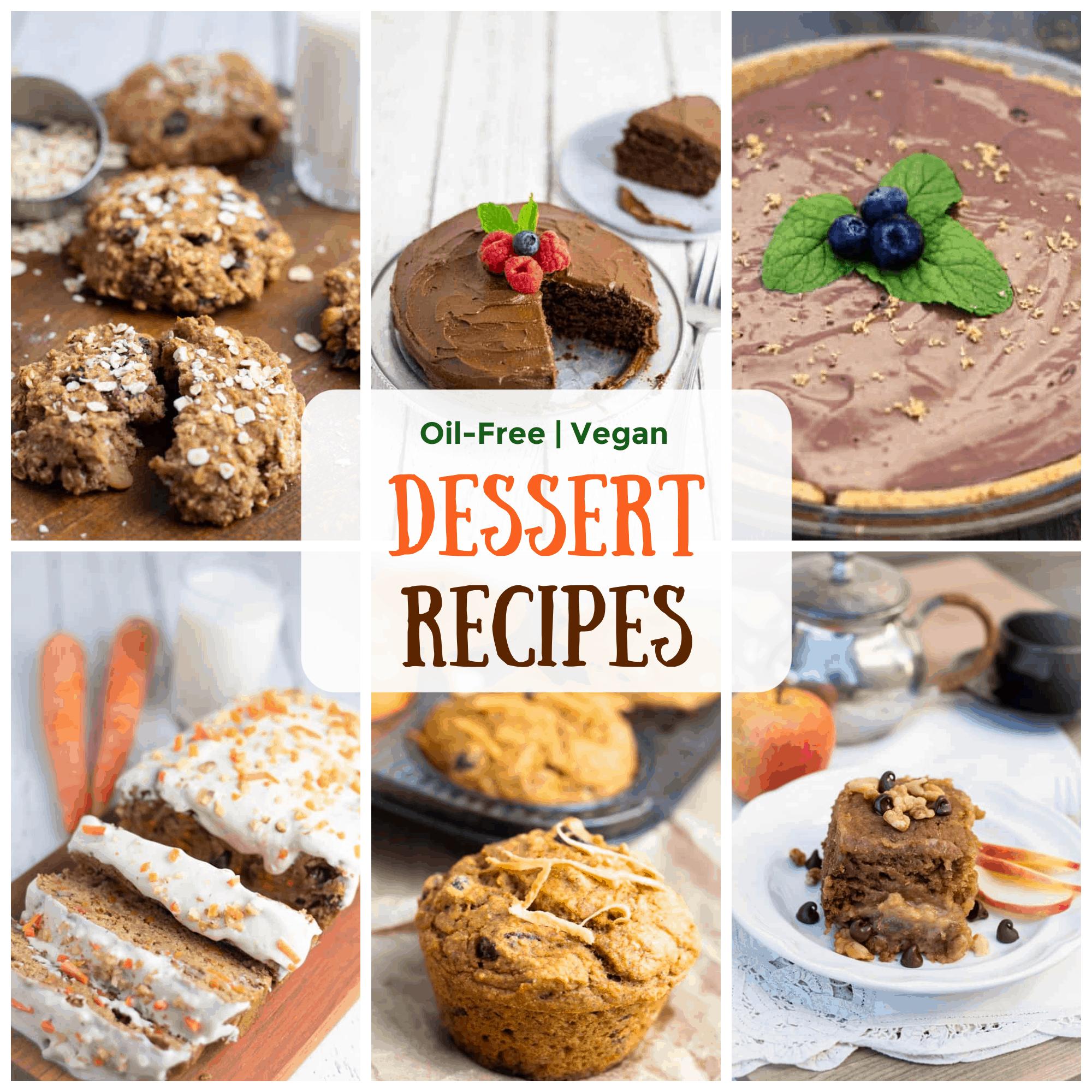 vegan dessert recipes photo collage