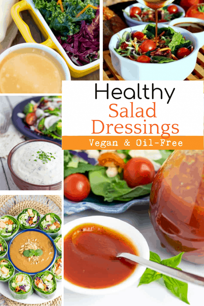 vegan salad dressings photo collage