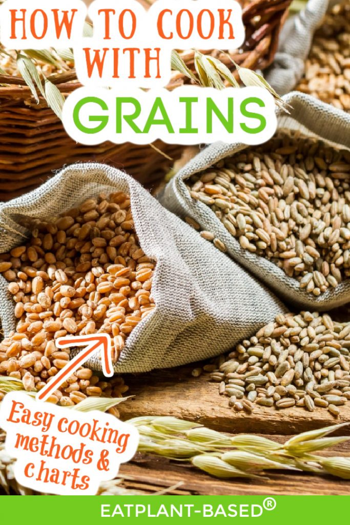 photo collage with writing for cooking grains pinterest image