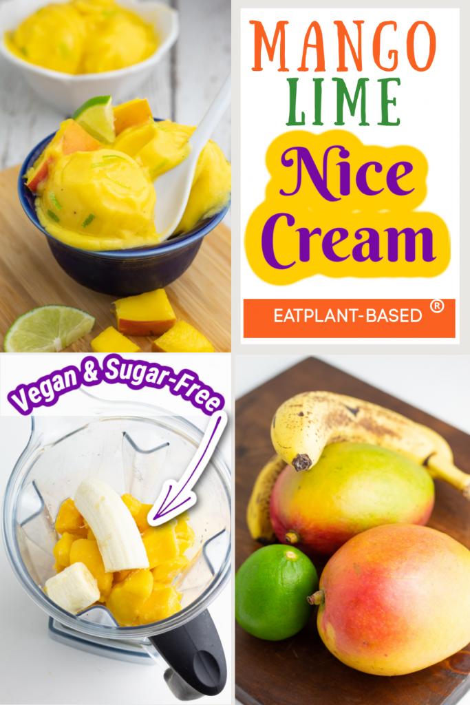 mango nice cream photo collage for pinterest