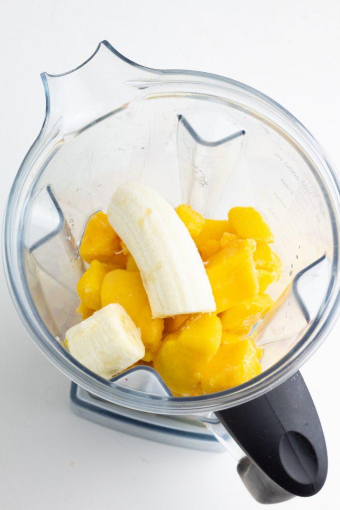 mango and banana in vitamix