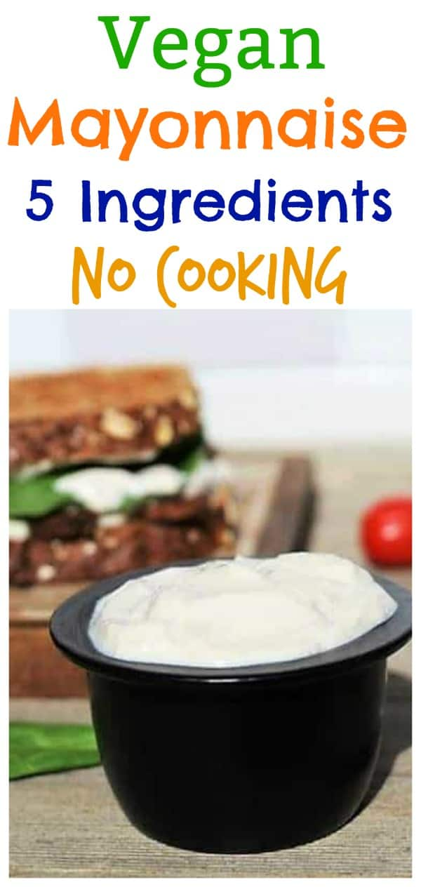 Vegan Mayonnaise recipe in black bowl