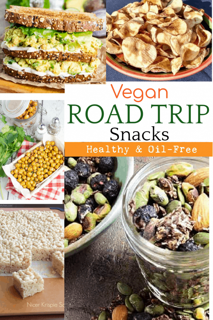 vegan road trip snacks photo collage