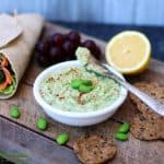 edamame hummus on cutting board
