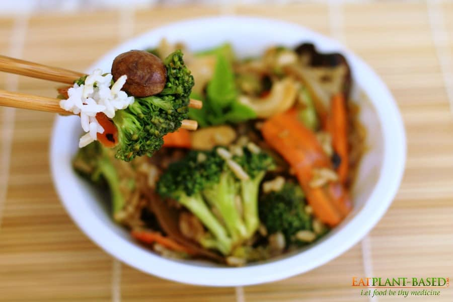 stir fry veggies on chopsticks