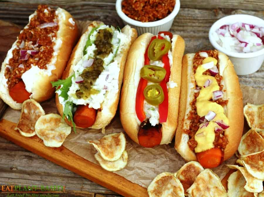 carrot hot dogs topped with vegan chili cheese sauce and slaw