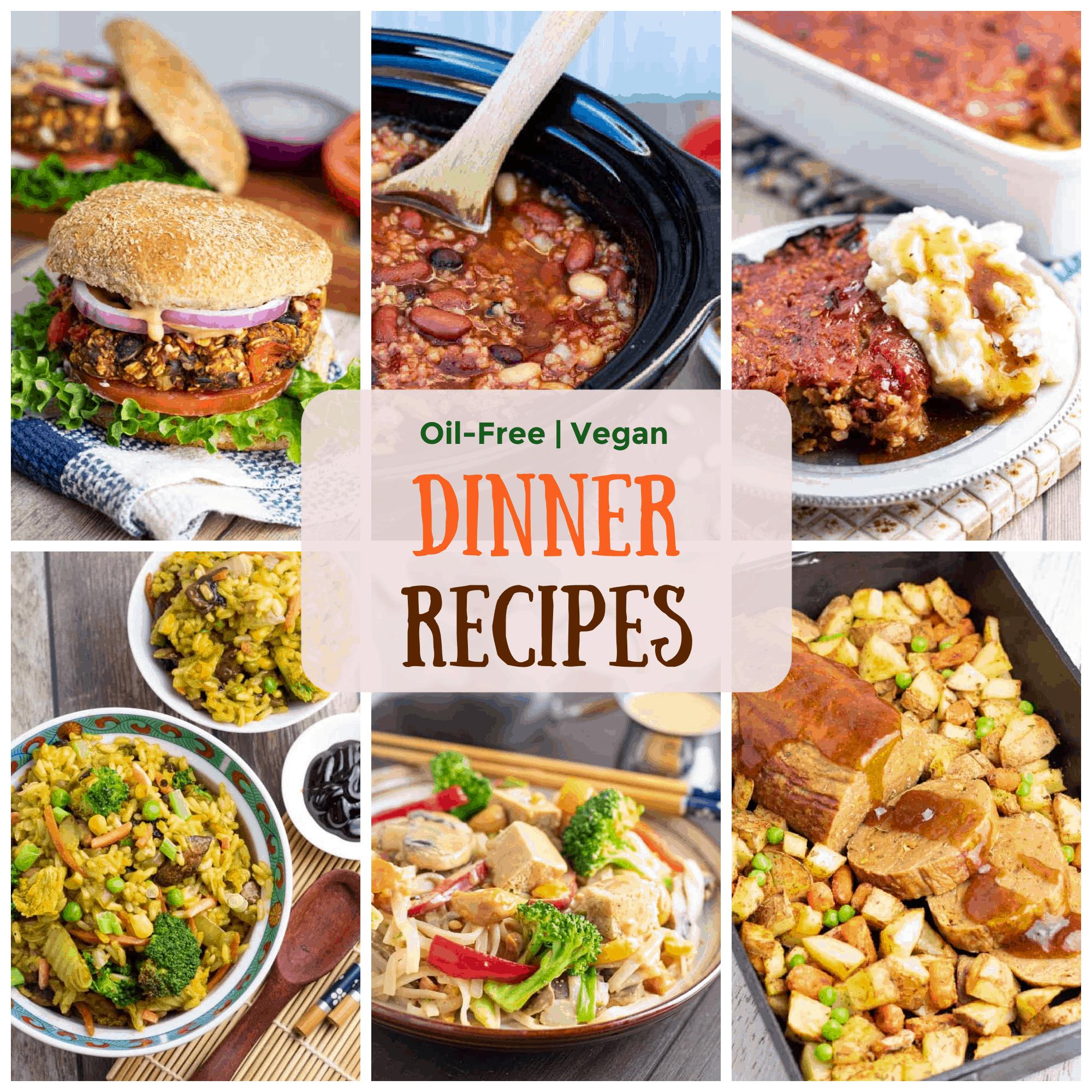vegan dinner recipes photo collage
