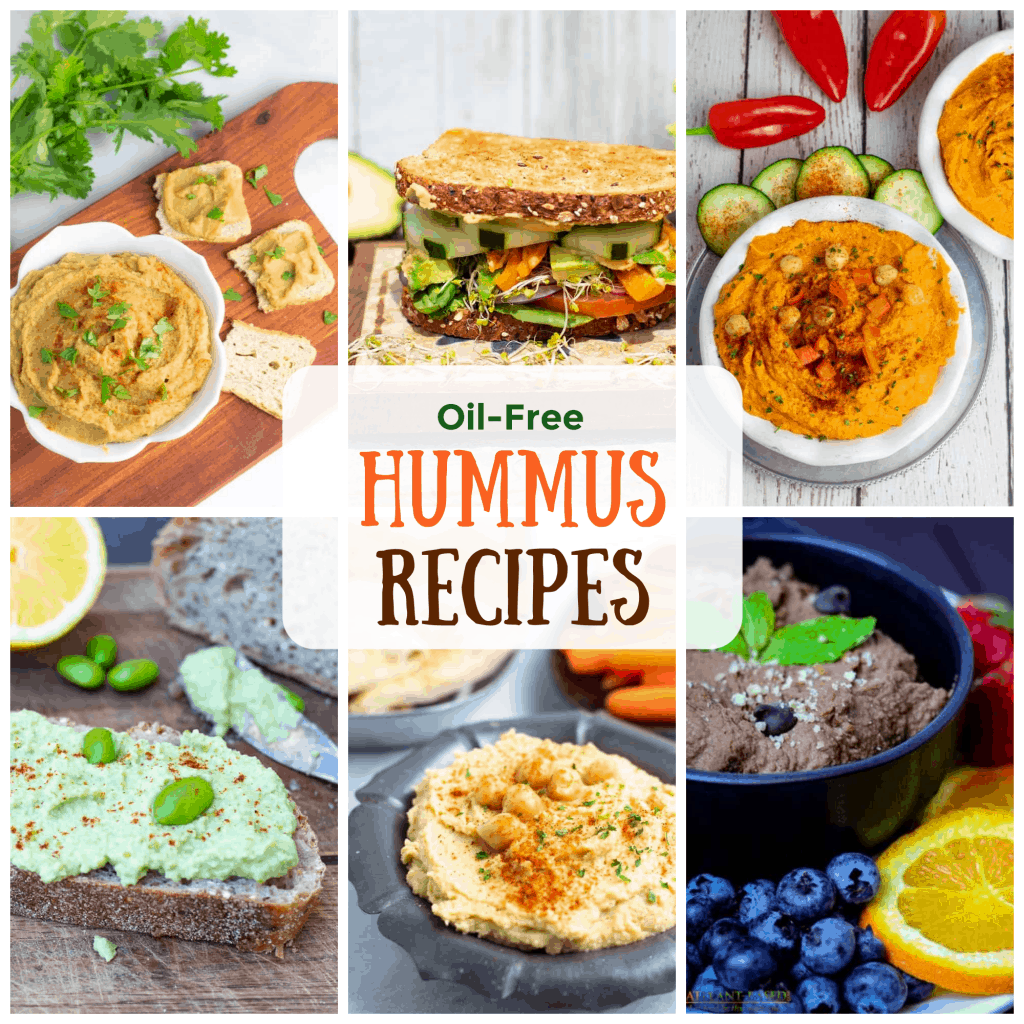 oil free vegan hummus recipe photo collage